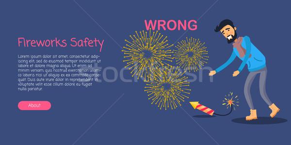 Havai fişek güvenlik adam yanlış roket zemin Stok fotoğraf © robuart