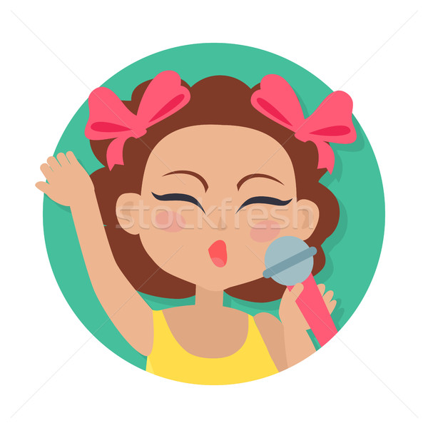 Singing Girl with Microphone in Hand. Brown Hair Stock photo © robuart