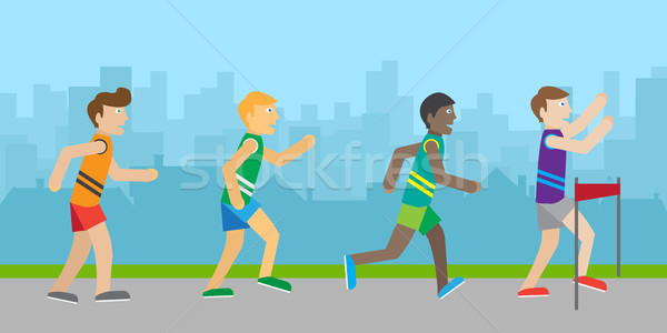Runners on Finish Flat Style Vector Illustration Stock photo © robuart