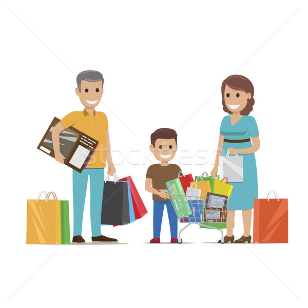 Family Making Purchases in Supermarket Flat Vector Stock photo © robuart