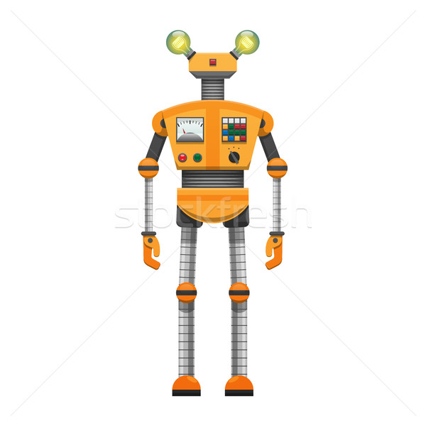 Orange robot grand artificielle yeux isolé Photo stock © robuart
