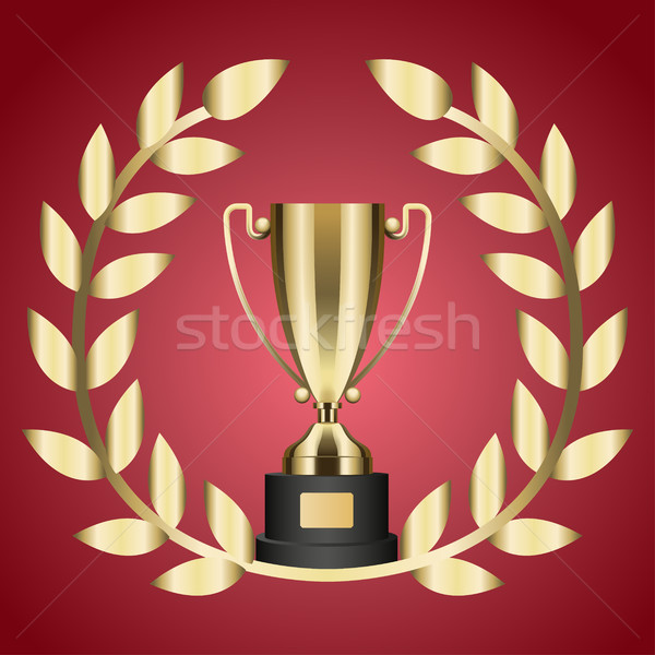 Gold Trophy for Victory and Laurel Branch Isolated Stock photo © robuart