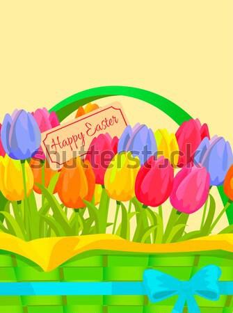 Kellemes húsvétot tavasz képeslap tulipánok vektor felirat Stock fotó © robuart