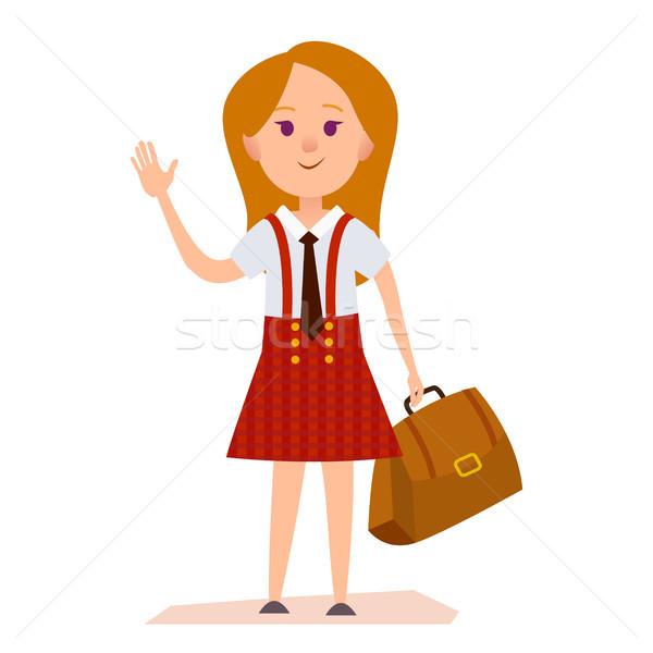 Fiatal lány iskolai egyenruha táska illusztráció piros kockás Stock fotó © robuart