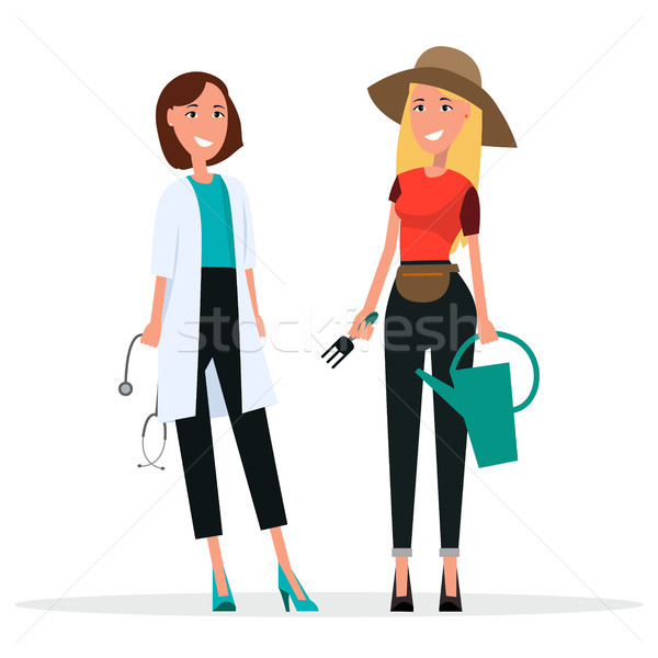 Set of Two Women. Grower and Doctor in White Coat Stock photo © robuart