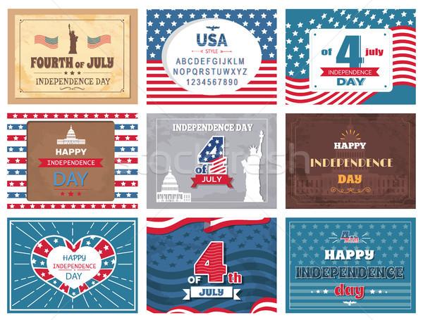 Amerikai ünnep negyedike üdvözlet gyűjtemény színes Stock fotó © robuart