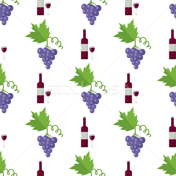 Red Wine in Bottle and Blue Grape Endless Texture Stock photo © robuart