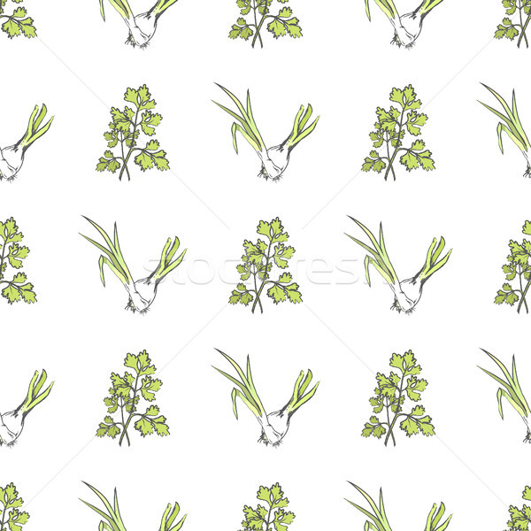Young Green Onion and Parsley Seamless Pattern Stock photo © robuart