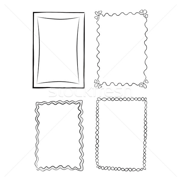 Black and White Outlined Frames Illustrations Set Stock photo © robuart