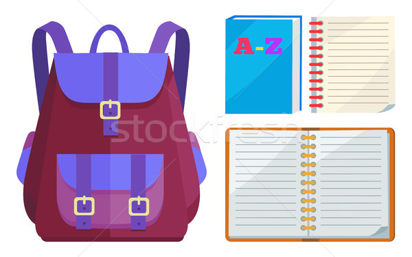 Backpack for Kids with ABC Open Copybook Vector Stock photo © robuart