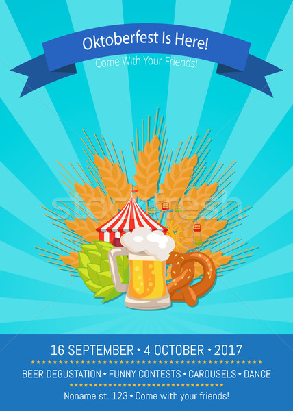 Foto stock: Oktoberfest · aquí · amigos · 16 · promoción