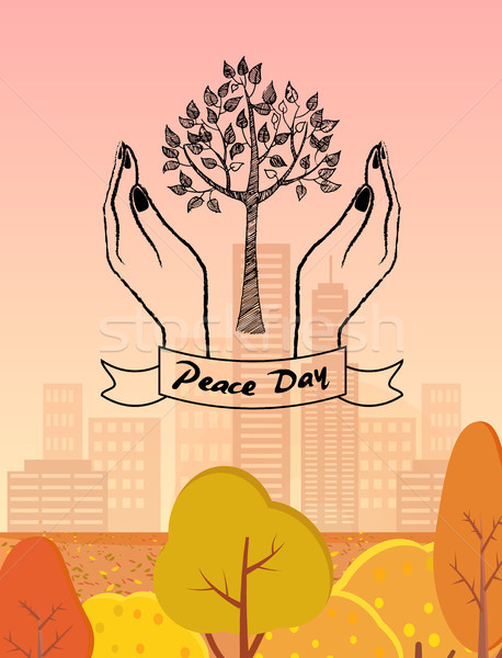 Peace Day Symbol with Tree Protected by Hands Stock photo © robuart