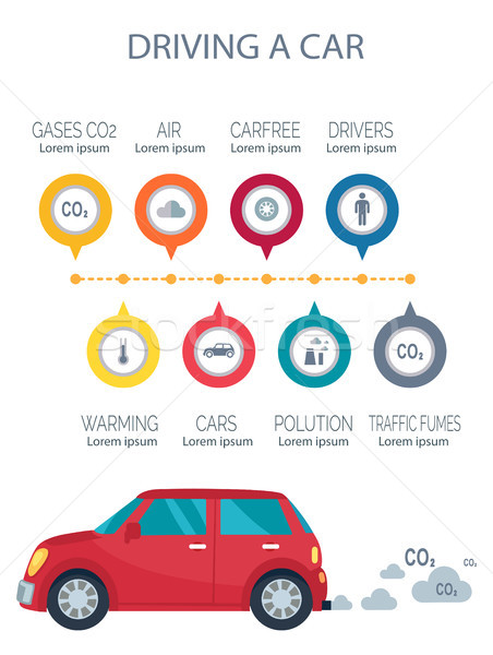 Driving a Car Poster Vector Illustration on White Stock photo © robuart