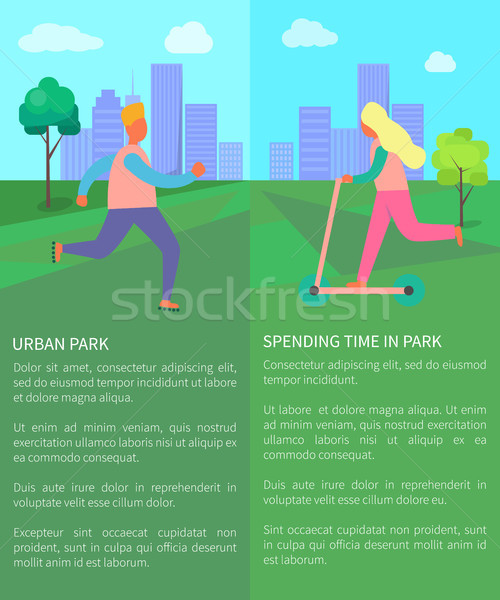 Spending Time in Urban Park Collection of Posters Stock photo © robuart