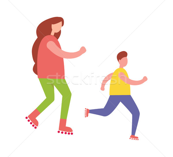 Mother and Son Rollerblading Isolated Illustration Stock photo © robuart