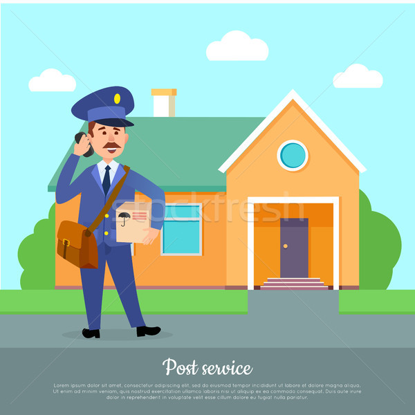 Post Service Web Banner. Courier Delivers Package Stock photo © robuart