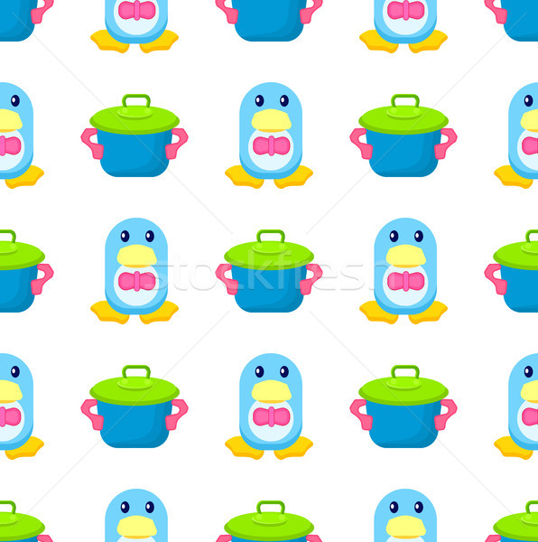 Penguin in Bowtie and Toy Pot Seamless Pattern Stock photo © robuart