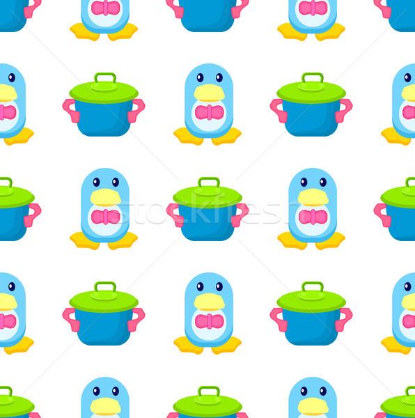 ペンギン おもちゃ ポット 愛らしい 青 ストックフォト © robuart
