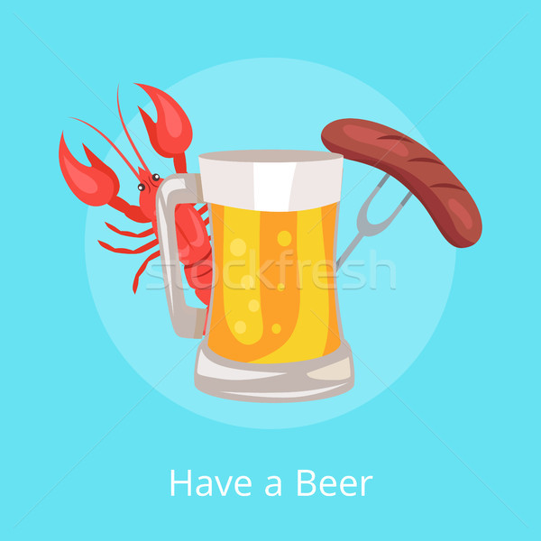 Have Beer Vector Illustration of Glass Alcohol Stock photo © robuart