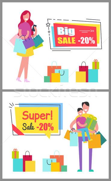большой супер продажи люди женщину мешки Сток-фото © robuart