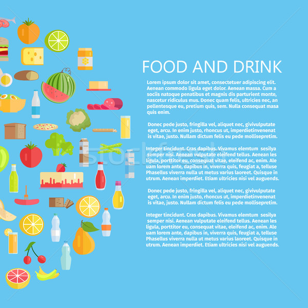Food and Drinks Banner with Dairy Products Stock photo © robuart