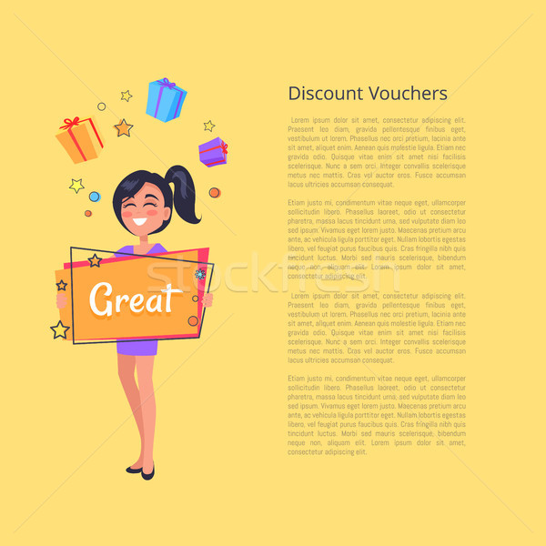 Discount Voucher with Smiling Girl Dreaming Boxes Stock photo © robuart