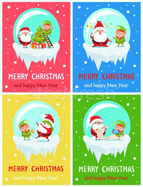 Gelukkig nieuwjaar vrolijk kerstmis briefkaart elf Stockfoto © robuart