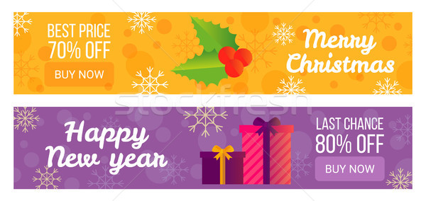 Set of Sale Banners Best Offer Happy New Year Stock photo © robuart