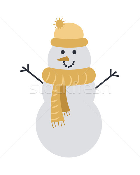 Snowman Isolated on White in Yellow Cap and Scarf Stock photo © robuart
