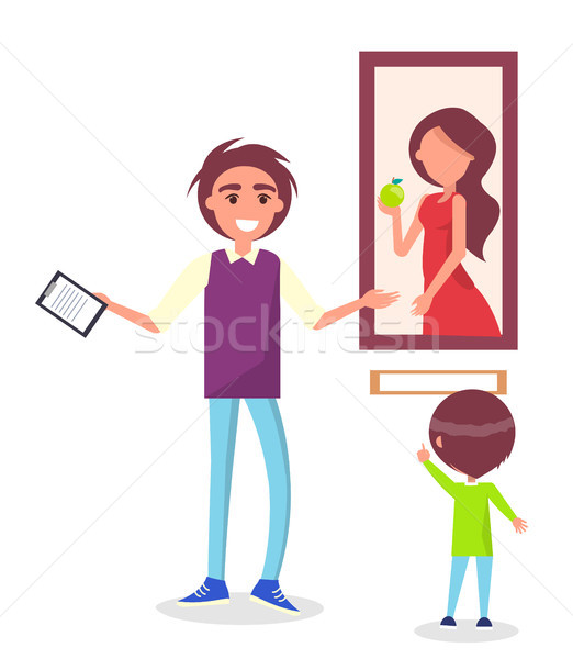 Guided Excursion in Picture Gallery for School Kid Stock photo © robuart