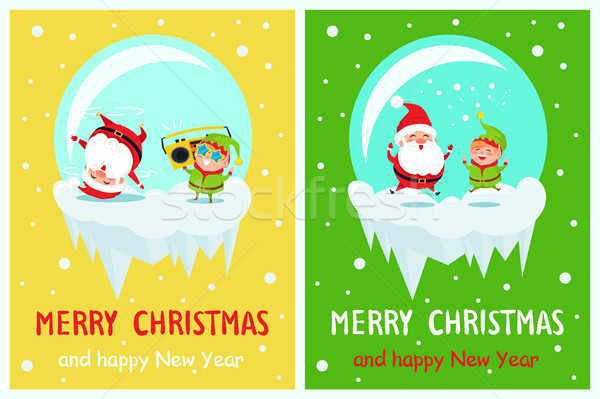 Postcard Merry Christmas Happy New Year Santa Elf Stock photo © robuart
