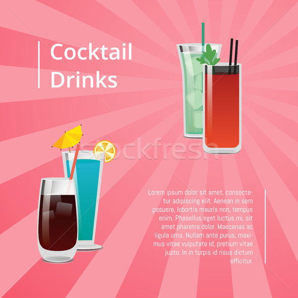 Cocktail Drinks Summer Party Poster Beverages Text Stock photo © robuart