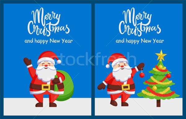 Merry Xmas Happy New Year Poster Santa Tree Bag Stock photo © robuart