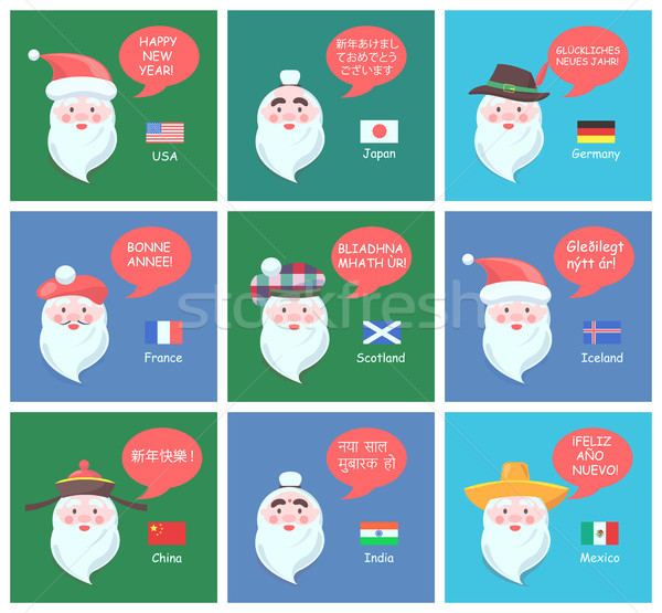 Funny Santa Clauses of Different Nationalities Set Stock photo © robuart