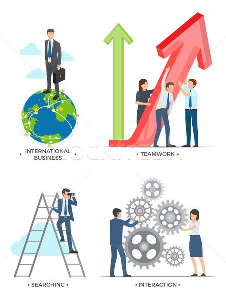 Internationale bedrijfsleven planning zoeken wisselwerking foto's man Stockfoto © robuart