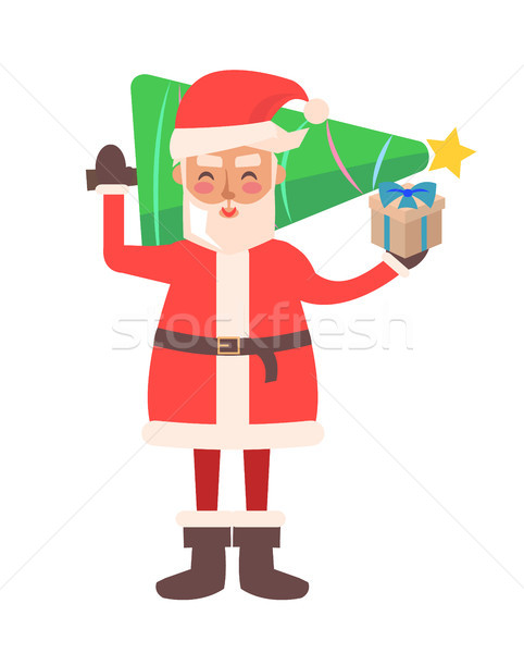 Santa Claus and Pine Tree Vector Illustration Stock photo © robuart