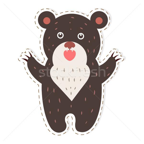 Cute Bear Cartoon Flat Vector Sticker or Icon Stock photo © robuart
