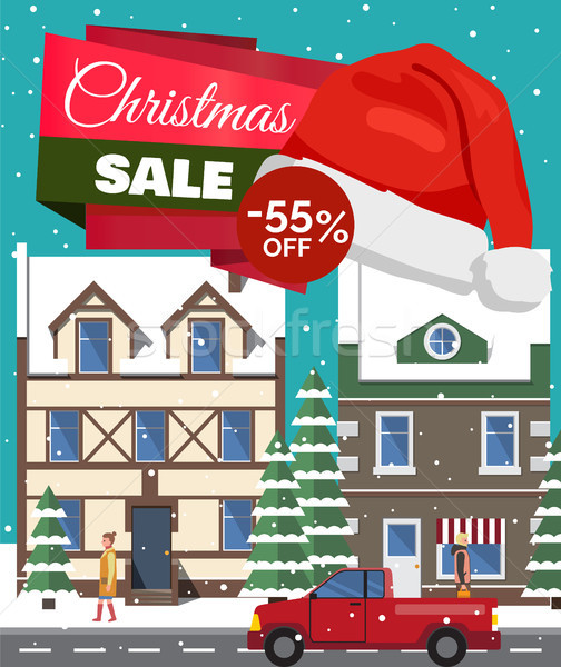 Christmas Sale -55 Off Poster Vector Illustration Stock photo © robuart