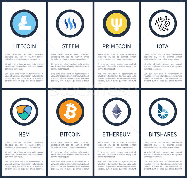 Cryptocurrency Symbols with Sample Texts Posters Stock photo © robuart