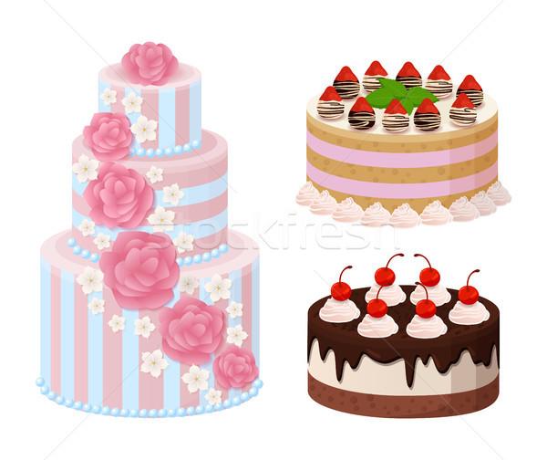 Doce padaria coleção cartaz bolos creme Foto stock © robuart