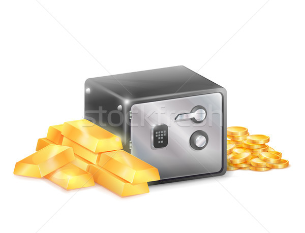 Metal Safe Strongbox with Golden Coins Gold Bars Stock photo © robuart