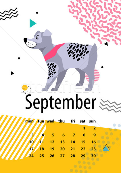 Calendar for September of 2018 with Pedigree Dog Stock photo © robuart