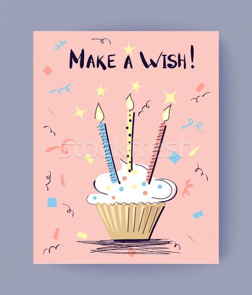 Make a Wish Birthday Congrats Vector Illustration Stock photo © robuart