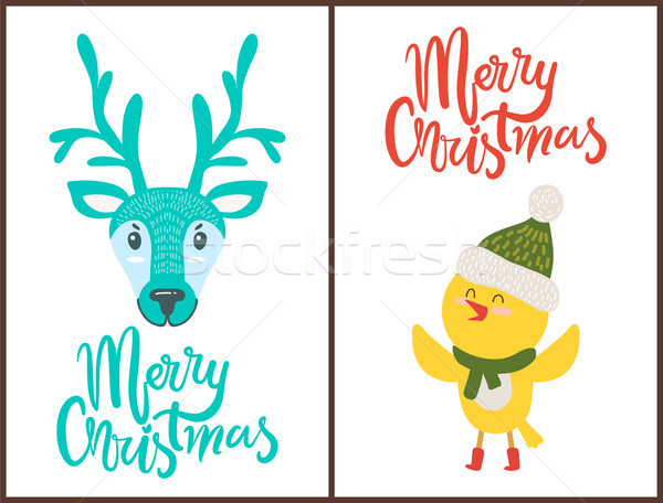 Merry Christmas Bright Poster with Cute Animals Stock photo © robuart