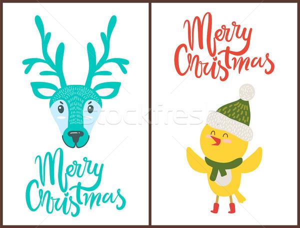 Vidám karácsony fényes poszter aranyos állatok fehér Stock fotó © robuart