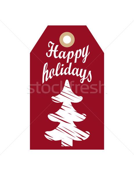 Szczęśliwy wakacje promo wiszący etykiety szkic Zdjęcia stock © robuart