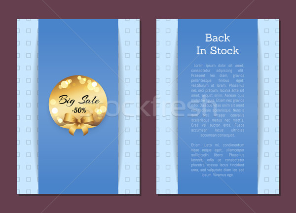 De volta estoque promo cartaz dourado etiqueta Foto stock © robuart