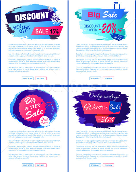 Discount New Offer Big Sale Winter Banner Tags Set Stock photo © robuart
