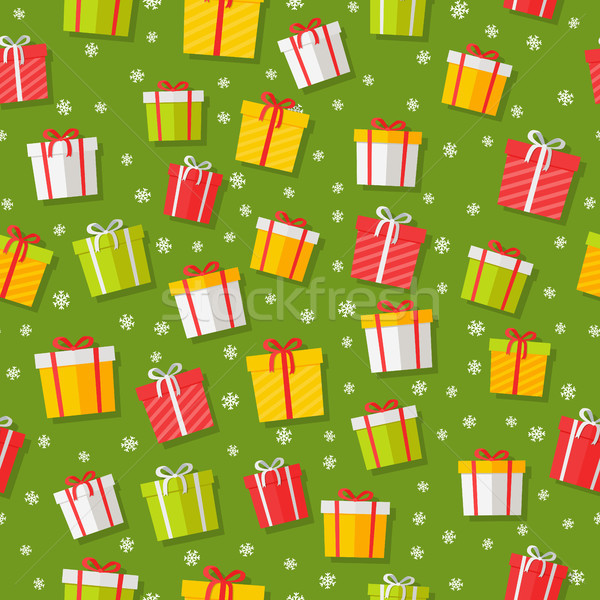 Stock photo: Wrapped Gifts Seamless Patterns Vector