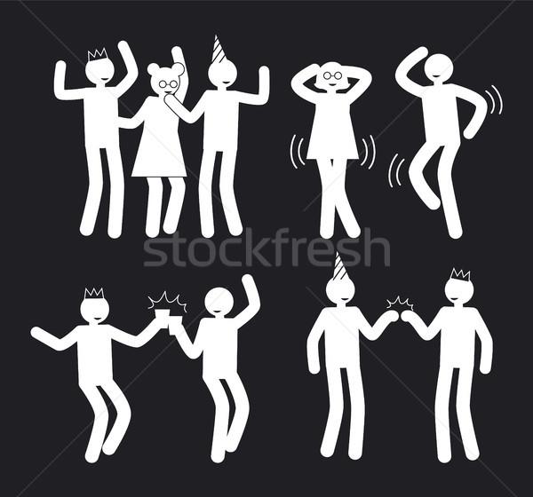 Amusement People Poses Set of White Pictograms Stock photo © robuart